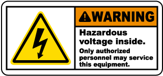 Warning Hazardous voltage inside Only authorized personnel.. Label