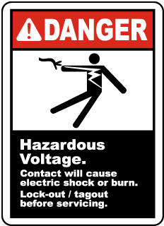 Danger Hazardous Voltage. Contact will cause electric shock or burn. Lock-out / tagout before servicing label