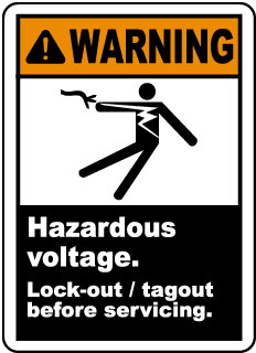Warning Hazardous voltage Lock-out tagout before servicing label