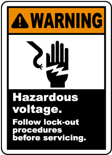Warning Hazardous voltage Follow lock-out procedures before servicing label