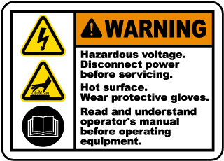 Warning Hazardous voltage. Disconnect power before servicing. Hot surface label