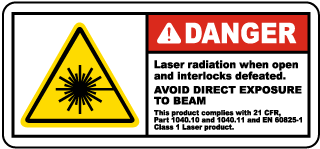 Danger Laser radiation when open and interlocks defeated. Avoid Direct Exposure To Beam.. label