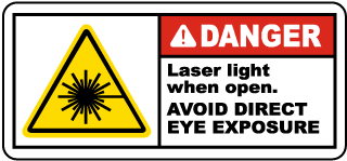 Danger Laser light when open. Avoid Direct Eye Exposure label
