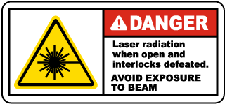 Danger Laser radiation when open and interlocks defeated. Avoid Direct Exposure To Beam label