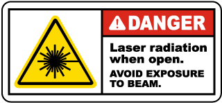 Danger Laser radiation when open. Avoid Exposure To Beam label