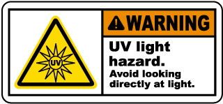 Warning UV light hazard Avoid looking directly at light label