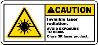 Caution Invisible laser radiation. Avoid Exposure To Beam. Class 3R laser product label