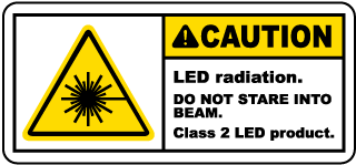 Caution LED radiation. Do Not Stare Into Beam. Class 2 LED product label