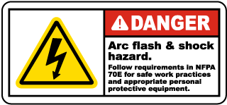 Arc flash label-Danger Arc flash & shock hazard. Follow all requirements in NFPA 70E for safe work practices and for personal protective equipment.