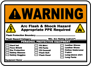 Arc flash label-Warning Arc flash & Shock Hazard. Appropriate PPE Required. Flash Protection Boundary.Flash Hazard Category.Min. Arc Rating (cal/cm2).