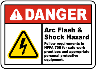 Arc flash label-Danger Arc Flash & Shock Hazard Follow requirements in NFPA 70E for safe work practices and appropriate personal protective equipment.