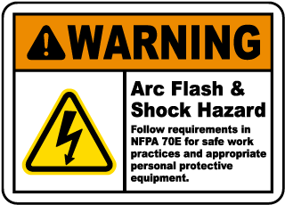 Arc flash label-Warning Arc Flash & Shock Hazard Follow requirements in NFPA 70E for safe work practices and appropriate personal protective equipment.