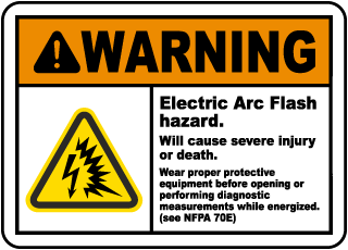 Arc flash label-Warning Electric Arc Flash hazard. Will cause severe injury or death. Wear proper protective equipment before opening.