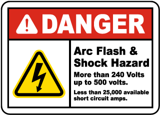 Arc flash label-Danger Arc Flash & Shock Hazard More Than 240 Volts up to 500 volts. Less than 25,000 available short circuit amps. Reference: SOP-MA 0370