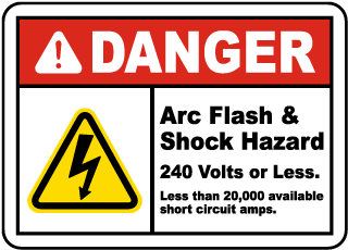 Arc flash label-Danger Arc Flash & Shock Hazard 240 Volts or Less. Less than 25,000 available short circuit amps. Reference: SOP-MA 0370
