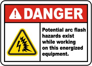 Arc flash label-Danger Potential arc flash hazards exist while working on this energized equipment.