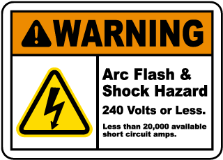 Arc flash label-Warning Arc Flash & Shock Hazard 240 Volts or Less. Less than 25,000 available short circuit amps. Reference: SOP-MA 0370