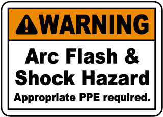 Arc flash label-Warning Arc Flash & Shock Hazard Appropriate PPE required.