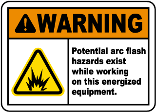 Arc flash label-Warning Potential arc flash hazards exist while working on this energized equipment.