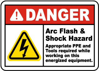 Arc flash label-Danger Arc Flash & Shock Hazard Appropriate PPE and Tools required while working on this energized equipment.