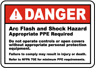 Arc flash label-Danger Arc Flash and Shock Hazard Appropriate PPE Required Do not operate controls