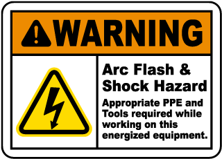 Arc flash label-Warning Arc Flash & Shock Hazard Appropriate PPE and Tools required while working on this energized equipment.