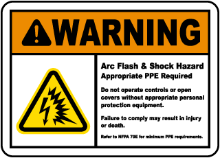 Arc flash label-Warning Arc Flash & Shock Hazard Appropriate PPE Required Do not operate controls or open covers without appropriate equipment