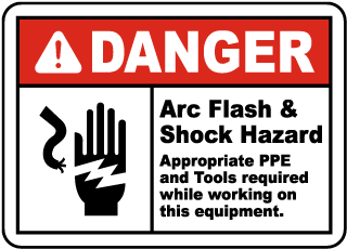 Arc flash label-Danger Arc Flash & Shock Hazard Appropriate PPE and Tools required while working on this equipment.