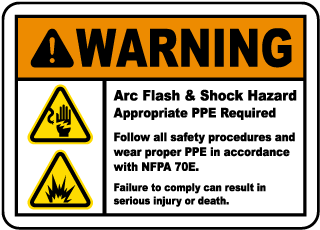 Arc flash label-Warning Arc Flash & Shock Hazard Appropriate PPE Required Follow all safety procedures and wear proper PPE in accordance with NFPA 70E.