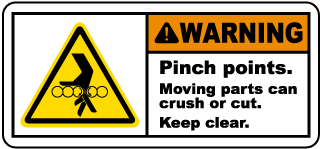 Warning Pinch points Moving parts can crush or cut Keep clear label