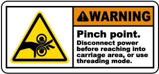 Warning Pinch point Disconnect power before reaching into carriage area, or use threading mode label