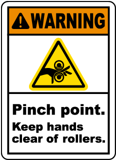 Warning Pinch point Keep hands clear of rollers label