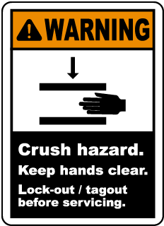 Warning Crush hazard Keep hands clear Lock-out tagout before servicing label