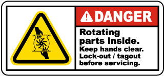 Danger Rotating parts inside Keep hands clear Lock-out tagout before servicing label