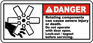 Danger Rotating components can cause severe injury or death.. label