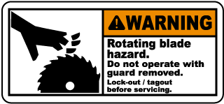 Warning Rotating blade hazard Do not operate with guard removed Lock-out tagout before servicing label