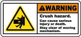 Warning Crush hazard Can cause serious injury or death Stay clear of moving mechanism Label