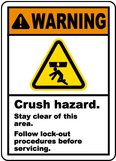Warning Crush hazard Stay clear of this area Follow lock-out procedures before servicing Label