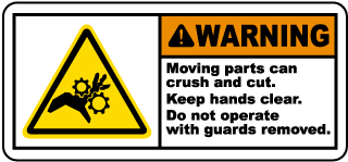 Warning Moving parts can crush and cut Keep hands clear.. label