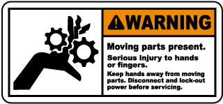 Warning Moving parts present Serious injury to hands or fingers.. label
