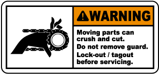 Warning Moving parts can crush and cut Do not remove guard.. label