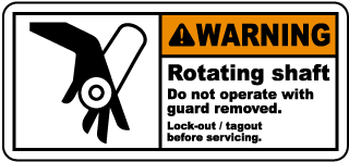 Warning Rotating shaft Do not operate with guard removed.. label
