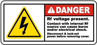 Danger Rf voltage present Contact with internal Rf source can cause burns and or electrical shock Radio Frequency Label