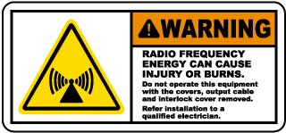 Warning Radio Frequency Energy Can Cause Injury Or Burns Label