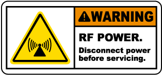 Warning RF POWER Disconnect power before servicing Radio Frequency Label