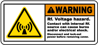 Warning Rf Voltage hazard Contact with internal Rf source can cause burns and or electrical shock Radio Frequency Label
