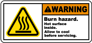 Warning Burn hazard. Hot surface inside. Allow to cool before servicing label