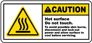 Caution Hot surface. Do not touch. To avoid possible skin burns label
