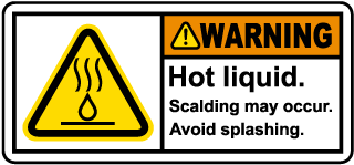 Warning Hot Liquid Label