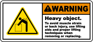 Warning Heavy object. To avoid muscle strain or back injury, use lifting aids and proper lifting techniques when removing or replacing label